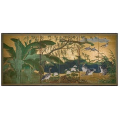 Early 19th Century Japanese Six-Panel Screen, Tropical Garden