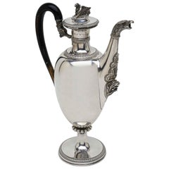Early 19th Century Large Italian Empire Silver Coffee Pot