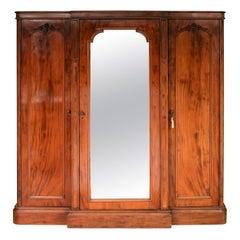 Early 19th Century Large Mahogany 3-Door Victorian Wardrobe, circa 1850