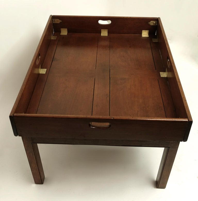 Early 19th Century Large Mahogany Butlers Tray on Stand For Sale 8