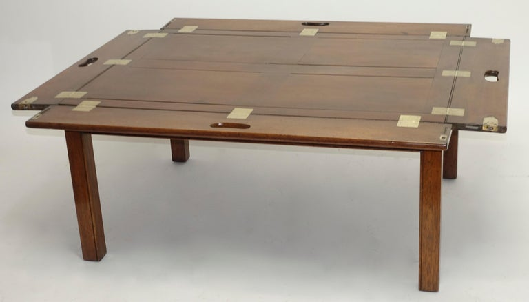 English Early 19th Century Large Mahogany Butlers Tray on Stand For Sale