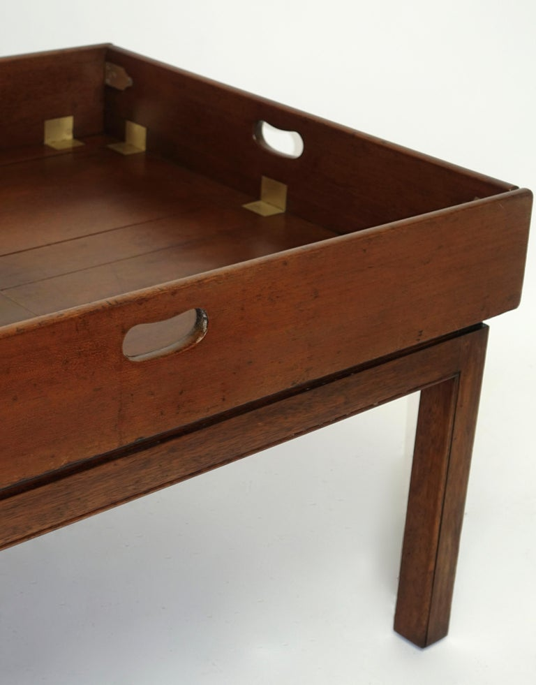 Early 19th Century Large Mahogany Butlers Tray on Stand For Sale 1