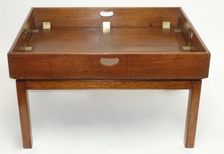 Early 19th Century Large Mahogany Butlers Tray on Stand For Sale 2