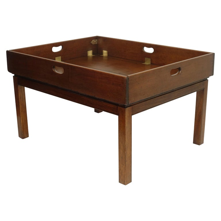 Early 19th Century Large Mahogany Butlers Tray on Stand For Sale