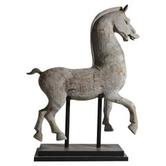 Early 19th Century Large Terracotta Horse Sculpture on a Metal Stand