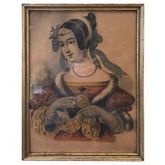 "Early 19th Century Lithograph Portrait Named ""Celennie Celenia"" Mrs. Leo Morrow"