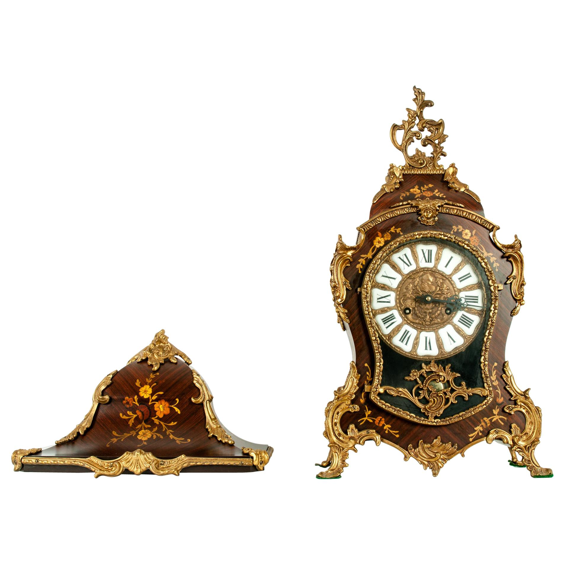Early 19th Century Louis XV Style Bronze Mounted Wall Clock