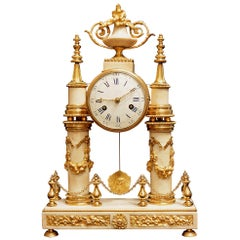 Early 19th Century Louis XVI Style White Carrara Marble and Ormolu Mounted Clock
