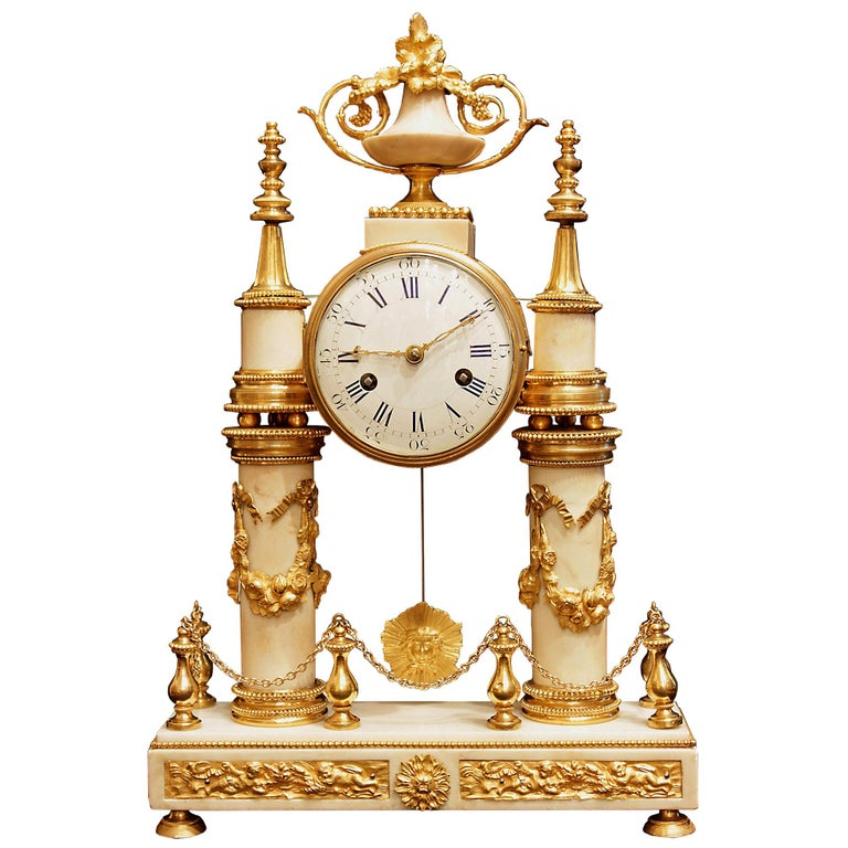 Early 19th Century Louis XVI Style White Carrara Marble and Ormolu Mounted Clock For Sale