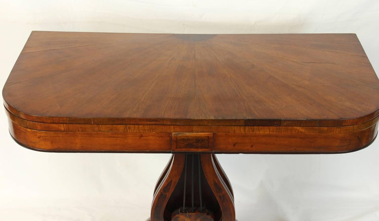 English Early 19th Century Lyre Shaped Card Table For Sale
