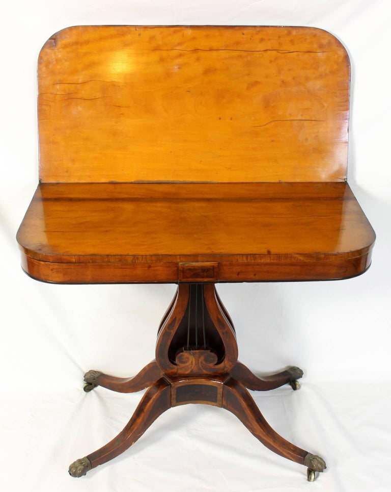 Early 19th Century Lyre Shaped Card Table In Good Condition For Sale In Kilmarnock, VA