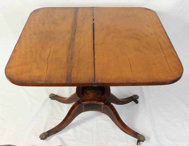 Early 19th Century Lyre Shaped Card Table For Sale 1