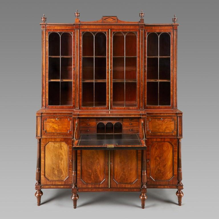 Early 19th Century Mahogany Breakfront Library Bookcase