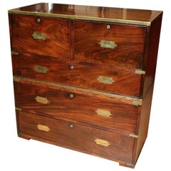 Early 19th Century Mahogany Campaign Chest of Drawers