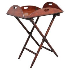 Early 19th Century Mahogany Folding Butlers Tray on Stand