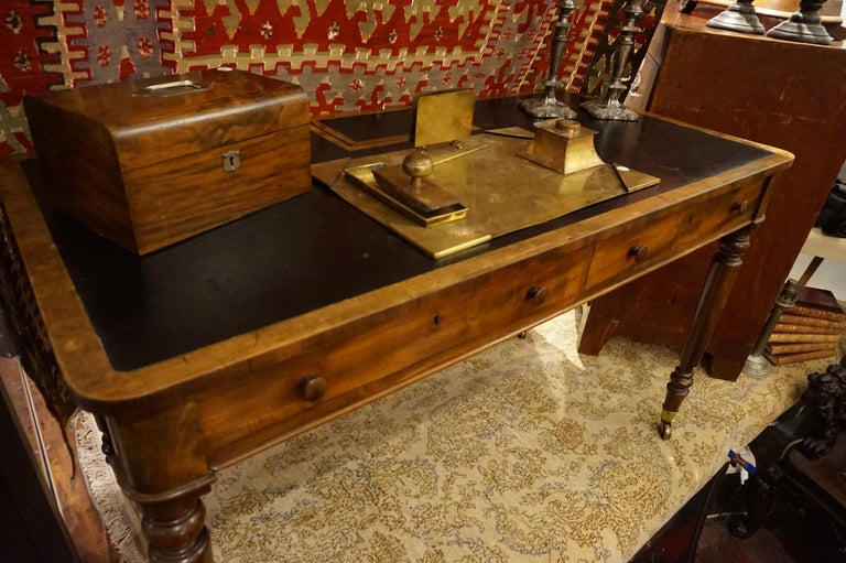 Georgian Early 19th Century Mahogany Gillows Lancaster Writing Desk on Casters For Sale