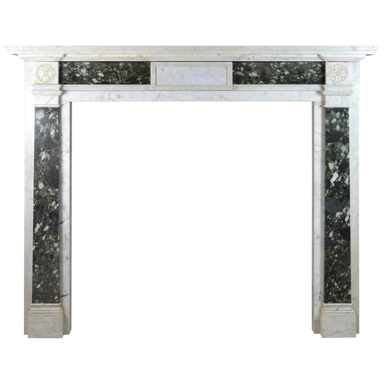 Early 19th Century Mantelpiece in Carrara and Verde Marble For Sale