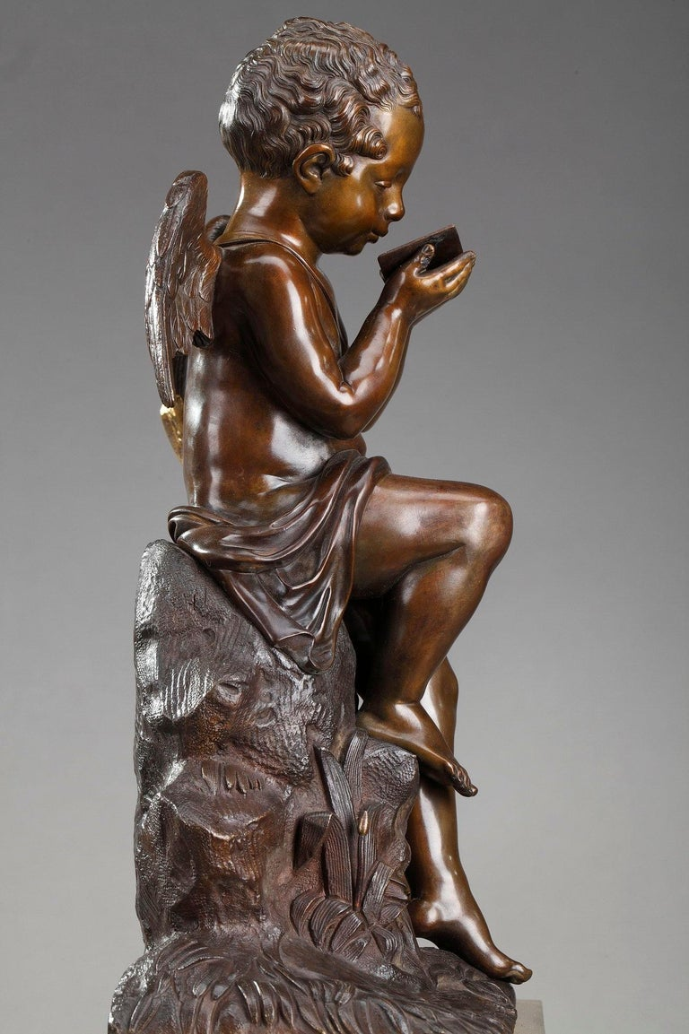 Early 19th Century Marble Clock Cupid Reading by Ledure and Hémon For Sale 5