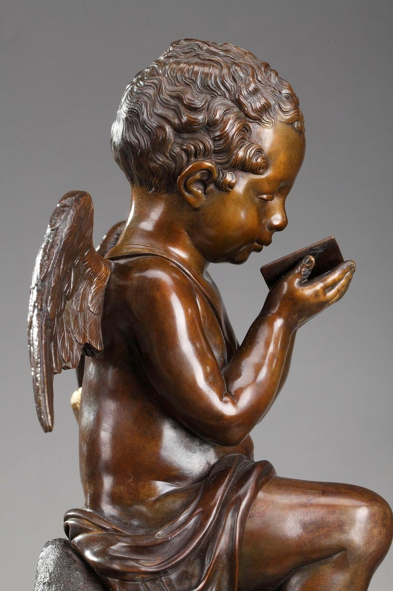 Early 19th Century Marble Clock Cupid Reading by Ledure and Hémon For Sale 6