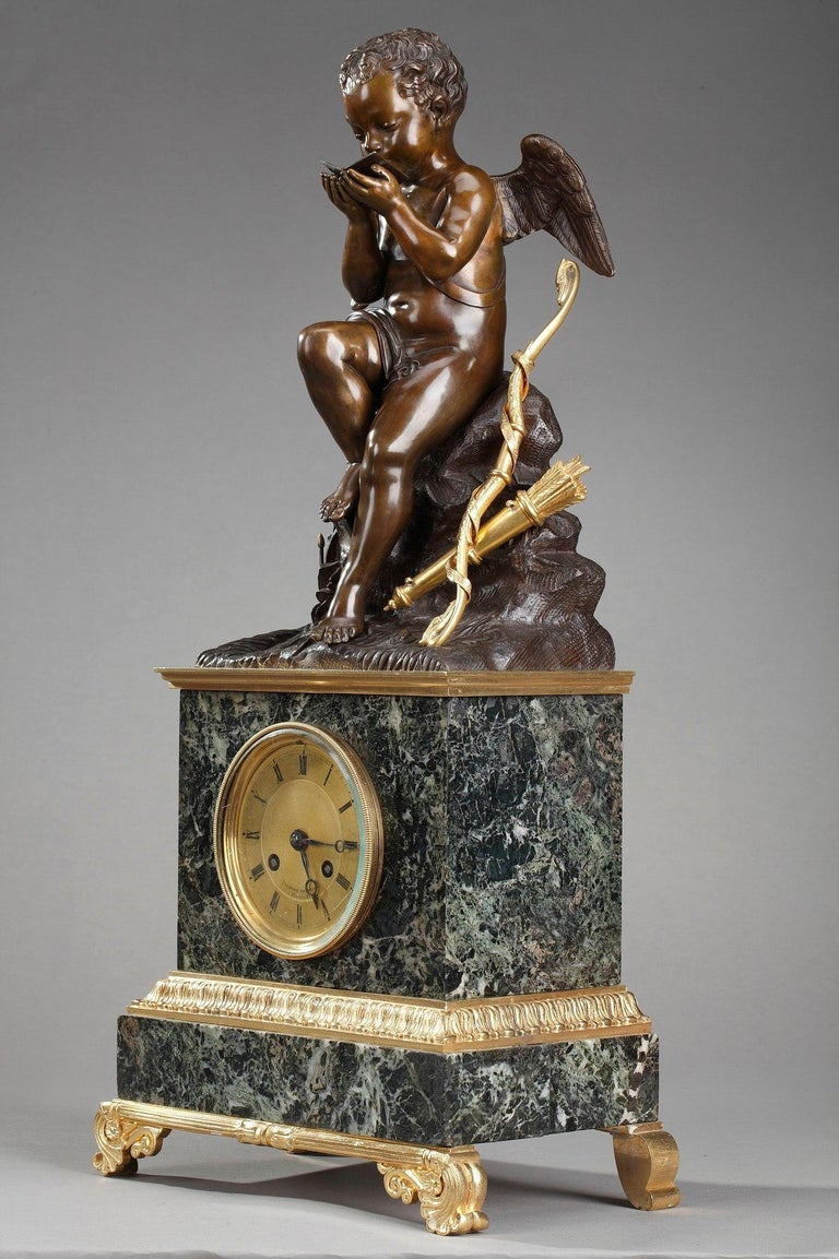 Early 19th Century Marble Clock Cupid Reading by Ledure and Hémon For Sale 9