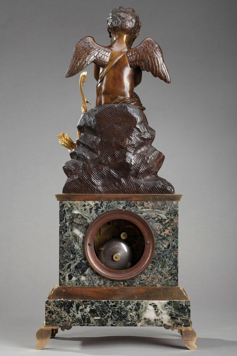 Early 19th Century Marble Clock Cupid Reading by Ledure and Hémon For Sale 10