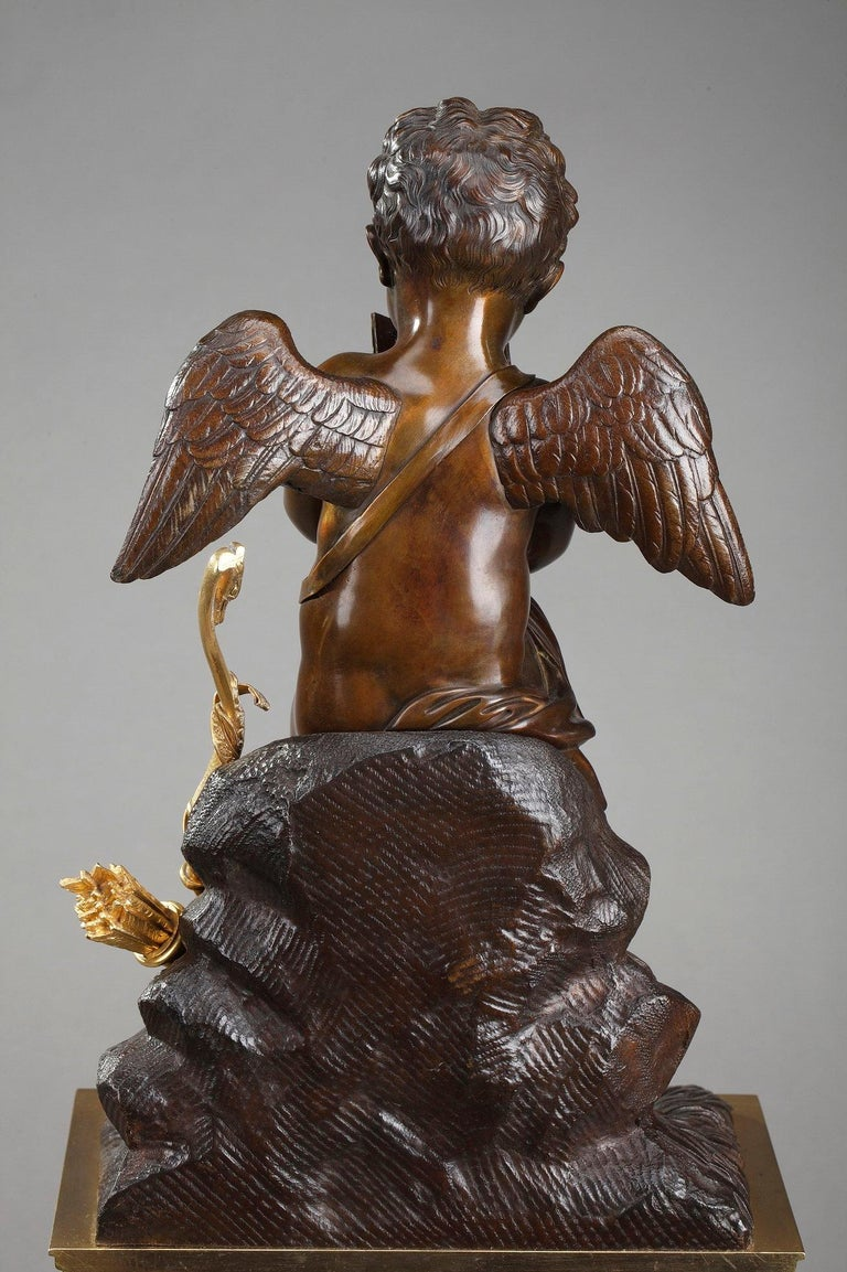 Early 19th Century Marble Clock Cupid Reading by Ledure and Hémon For Sale 11