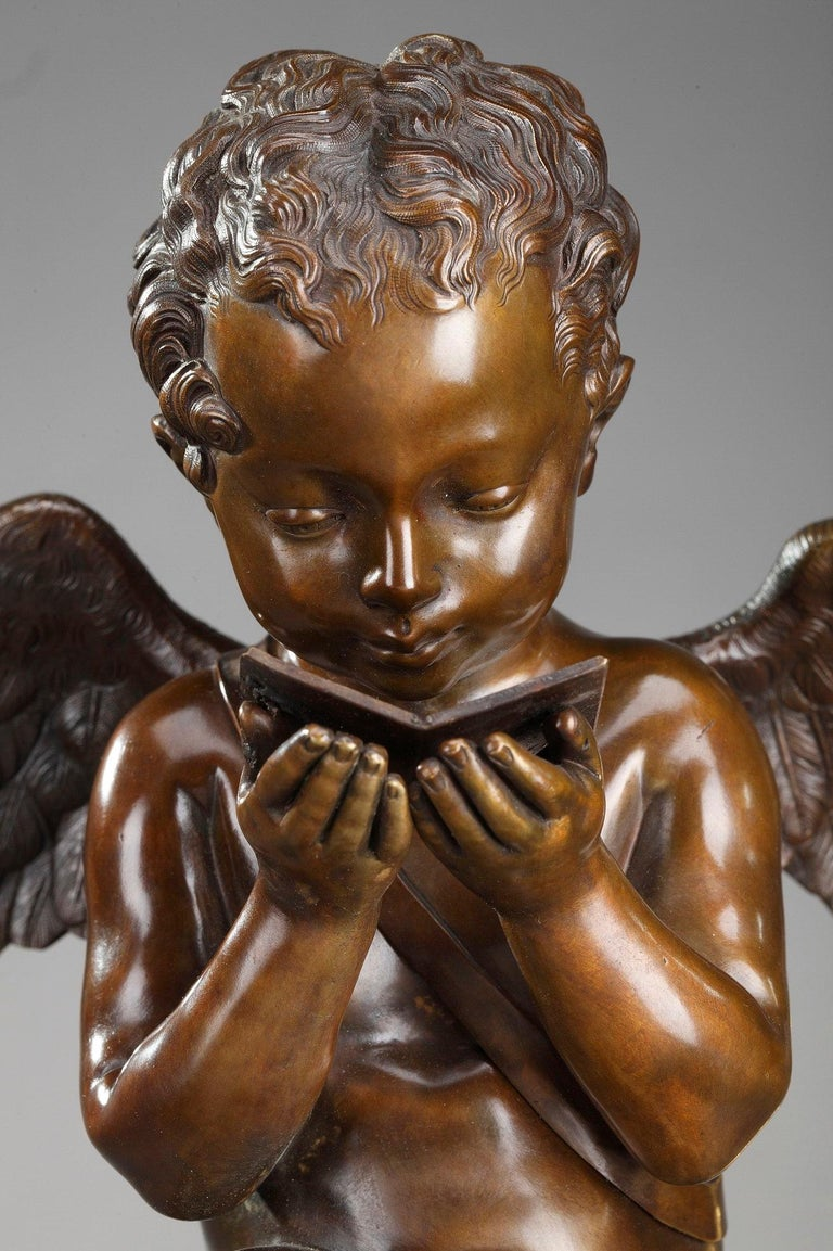 Restauration Early 19th Century Marble Clock Cupid Reading by Ledure and Hémon For Sale