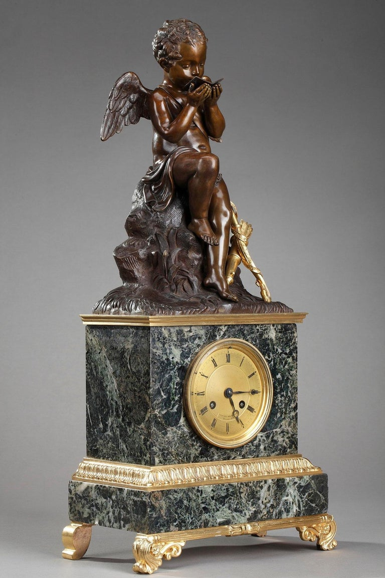Early 19th Century Marble Clock Cupid Reading by Ledure and Hémon For Sale 2