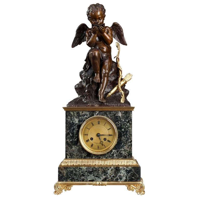 Early 19th Century Marble Clock Cupid Reading by Ledure and Hémon For Sale
