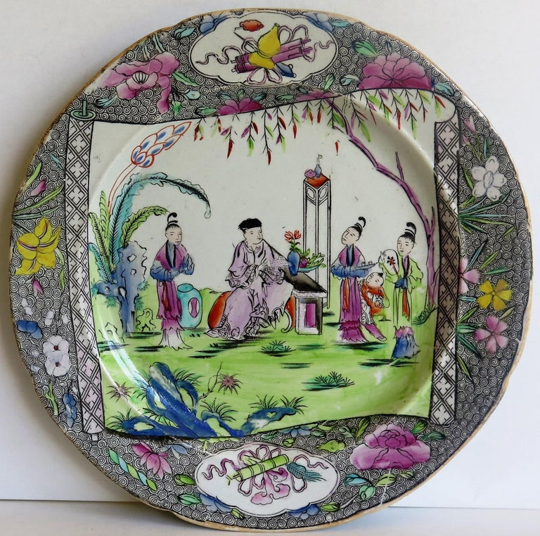 Hand-Painted Early 19th Century Mason's Ironstone Dinner Plate in Chinese Scroll Pattern For Sale