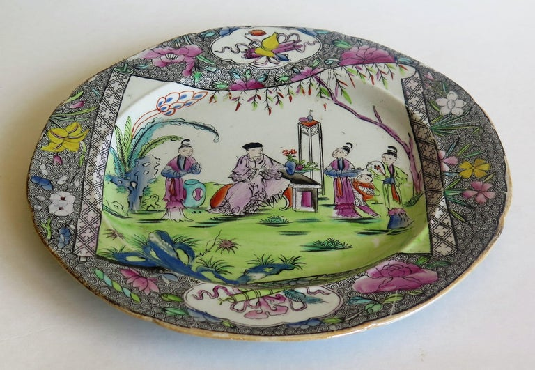 Early 19th Century Mason's Ironstone Dinner Plate in Chinese Scroll Pattern For Sale 1