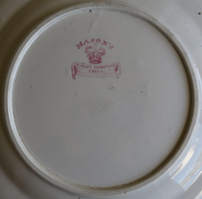 Early 19th Century Masons Ironstone Plate in Ragged Rose Pattern, Circa 1830 For Sale 7