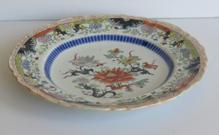 Chinoiserie Early 19th Century Masons Ironstone Plate in Ragged Rose Pattern, Circa 1830 For Sale
