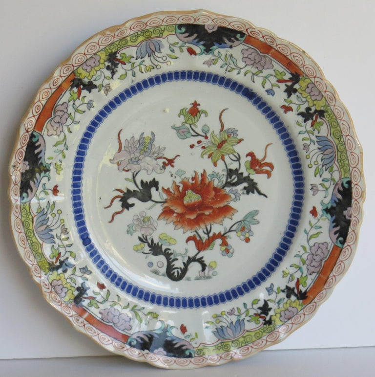 English Early 19th Century Masons Ironstone Plate in Ragged Rose Pattern, Circa 1830 For Sale