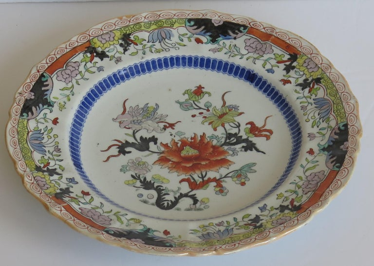 Hand-Painted Early 19th Century Masons Ironstone Plate in Ragged Rose Pattern, Circa 1830 For Sale