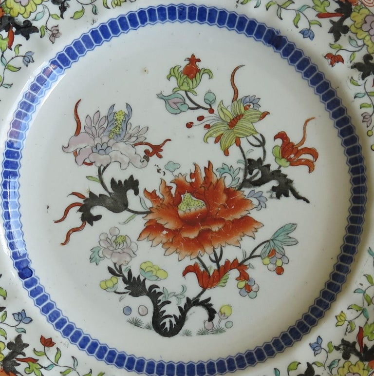 Early 19th Century Masons Ironstone Plate in Ragged Rose Pattern, Circa 1830 For Sale 1