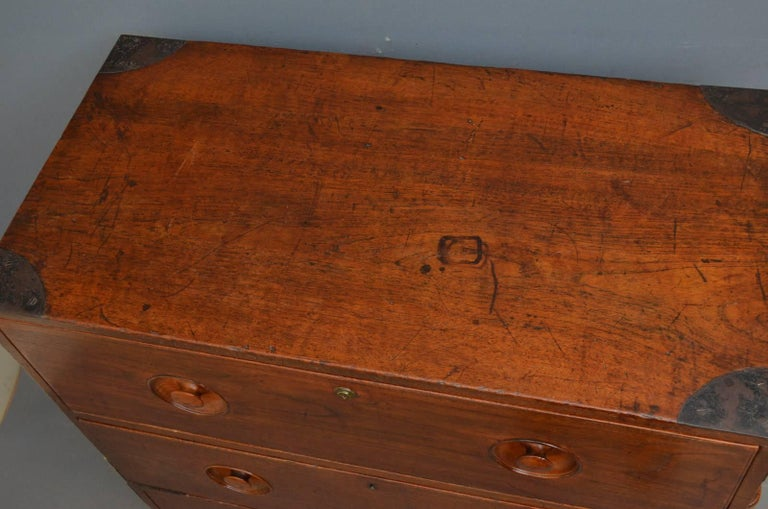 Early Victorian Early 19th Century Military Chest with Secretaire For Sale