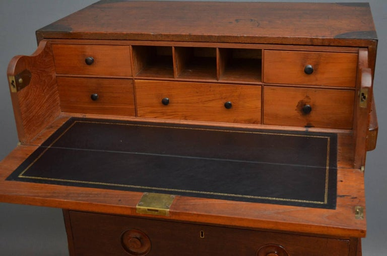 Early 19th Century Military Chest with Secretaire In Excellent Condition For Sale In Whaley Bridge, GB