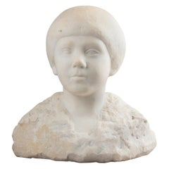 Early 19th Century Modernist Art Deco Staue of a Child Made of Carrara Marble