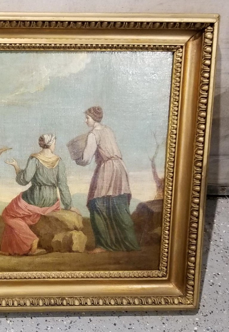 Canvas Early 19th Century Musical Nymphs Painting For Sale