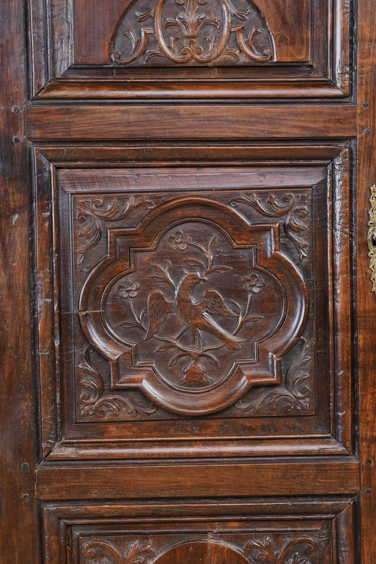 Charles X Early 19th Century Narrow French Bonnetiere or Cupboard with Carved Birds For Sale