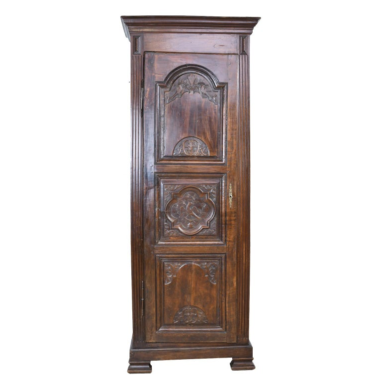 Early 19th Century Narrow French Bonnetiere or Cupboard with Carved Birds For Sale 1