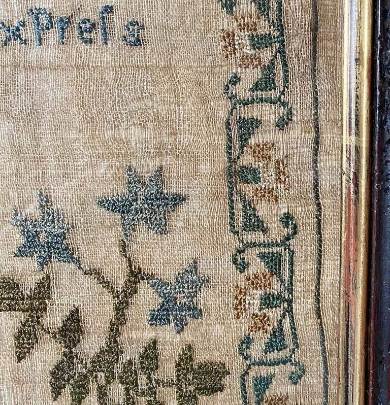 Early 19th Century Needle Work Sampler by Ann Gould In Distressed Condition For Sale In Van Nuys, CA