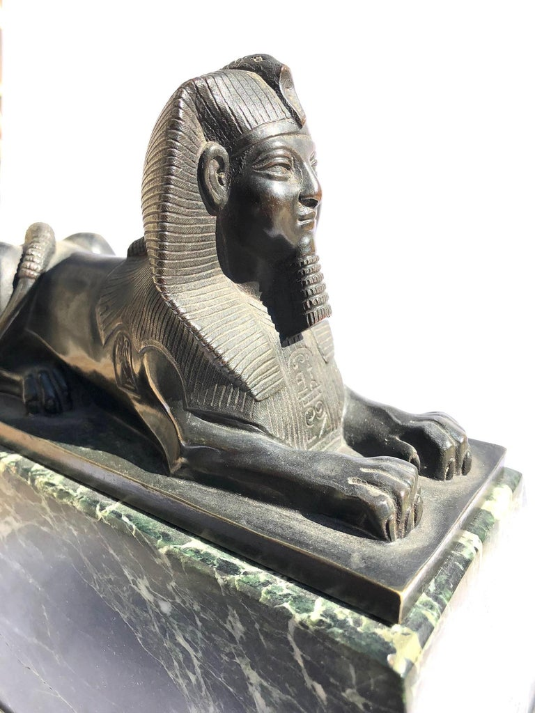 An Early 19th Century Neo Classical Bronze Sphynx on Green Marble Base In Excellent Condition For Sale In Armadale, Victoria