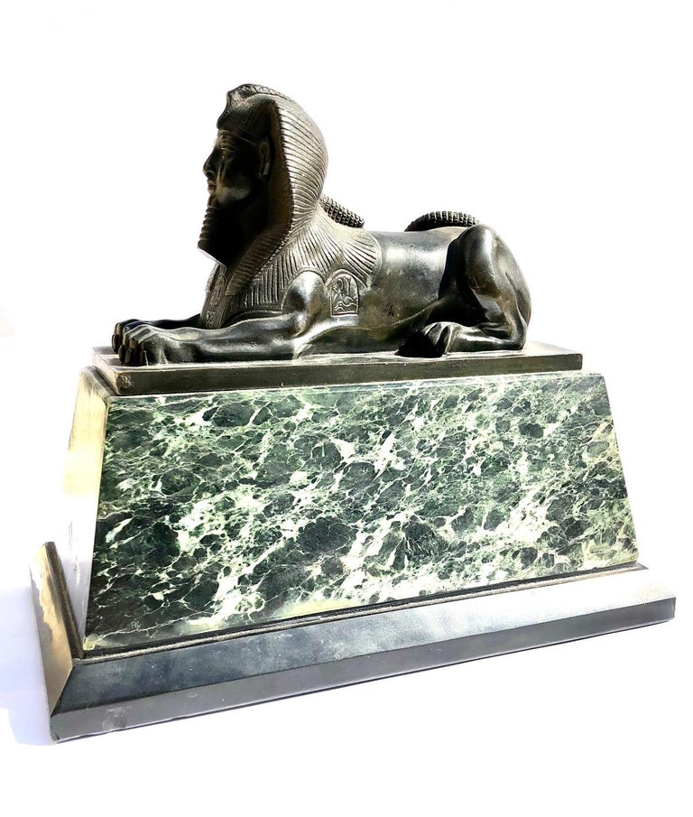 An Early 19th Century Neo Classical Bronze Sphynx on Green Marble Base For Sale 3