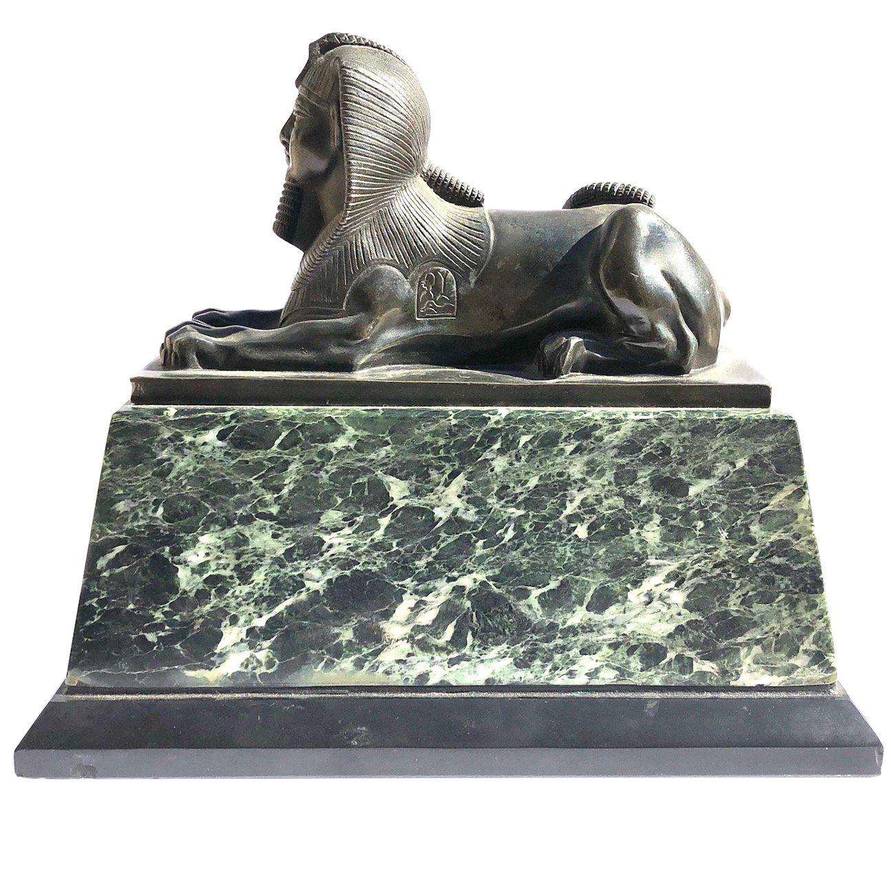 An Early 19th Century Neo Classical Bronze Sphynx on Green Marble Base
