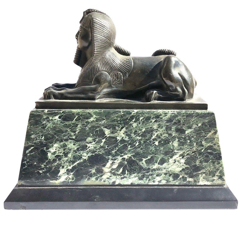 An Early 19th Century Neo Classical Bronze Sphynx on Green Marble Base For Sale