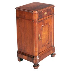 Early 19th Century Neoclassical Bedside Table, Nightstand Walnut & Briar Walnut