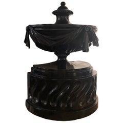 Early 19th Century Neoclassical Carved and Ebonized Wooden Urn
