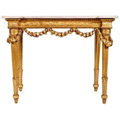 Early 19th Century Neoclassical Gilt and Marble-Top Console Table